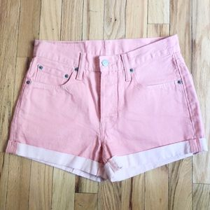 Levi's 501 Pink High Waisted Jean Shorts